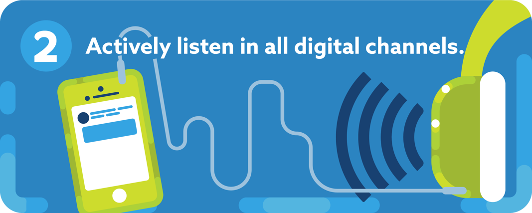 """Image of phone connected to headphones + """"Actively listen in all digital channels."""""""