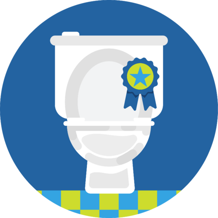A toilet with a winning ribbon