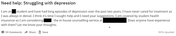 A Reddit post from an enrolled college student who is struggling with depression