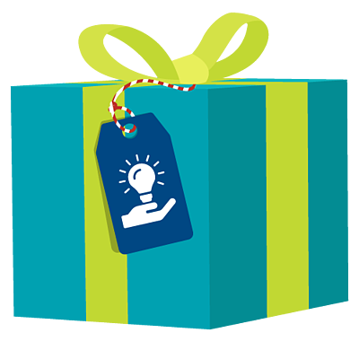 Gift wrapped present with a gift tag with a light bulb that indicates sharing our knowledge