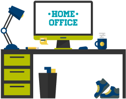 Illustration of a desk in a home office