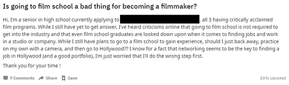 Question on Reddit about whether or not going to film school is bad for becoming a filmmaker